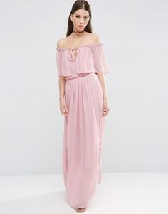 ASOS Ruffle and Tiered Off Shoulder Maxi Dress