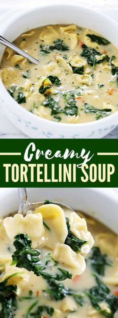 Creamy Tortellini Soup You are in the right place about corn soup recipes Here we offer you the most beautiful pictures about the whole 30 soup recipes you are looking for. When you examine the Creamy Tortellini Soup part of the picture you can get … Spinach Tortellini Soup, Tortellini Recipes, Pasta Soup, Cream Of Spinach Soup, Creamy Spinach, Spinach Recipes, Vegetarian Recipes, Healthy Recipes, Vegetarian Crockpot Soup