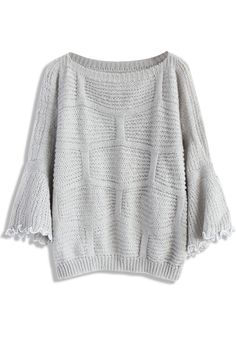 Got Everything You Knit Oversized Top in Grey - New Arrivals - Retro, Indie and Unique Fashion