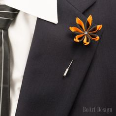 Black/Orange Kanzashi Flower Lapel Pin with Swarovski Silver Night Crystal/Lapel Pin/Lapel Flower/Men Lapel Flower/Wedding Accessory/Brooch by BoArtDesign on Etsy