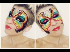 Masquerade mask face paint tutorial Face Painting Images, Adult Face Painting, Pink Lips Makeup, No Eyeliner Makeup, Masquerade Makeup, Halloween Fun, Halloween Face Makeup, Pink Moth, Mime Face Paint