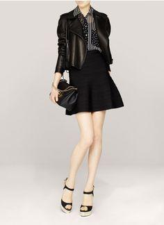 Hervé Léger - Cecillia flounce bandage skirt | Black Knee-length Skirts