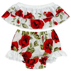 Cute Floral Baby Girl Clothes Set 2017 Summer Ruffles Skirted Off Shoulder Tops +Lace Bloomers Bottom 2PCS Outfits Children Set https://presentbaby.com #toddlerbottom #babybloomersoutfit