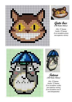 Picture Ghibli, Pixel Beads, Beaded Cross Stitch, Geek Cross Stitch, Cross Stitch Embroidery, Crochet Totoro, Pixel Art, Arte Pixel, Hama Beads Design