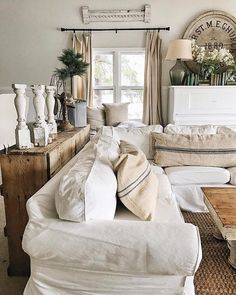 Farmhouse Neutral Paint Living Room Color Scheme   Read the color story of this New England Farmhouse and how to discover the perfect neutrals. #livingRoomColorsScheme #FarmhouseLivingRoom