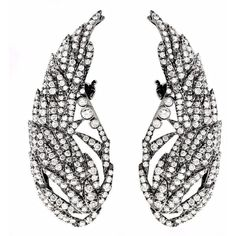 Runa Jewelry Wings Day Grey Diamond Earrings (14,790 CAD) ❤ liked on Polyvore featuring jewelry, earrings, accessories, white gold, earrings jewelry, wing earrings, sparkle jewelry, wing jewelry and sparkly earrings