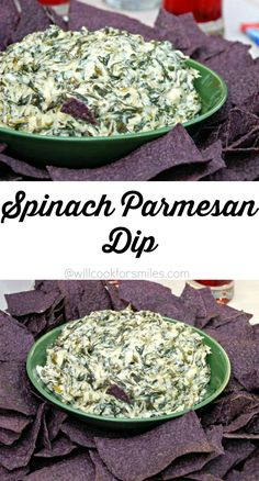 Spinach Parmesan Dip. Delicious hot dip appetizer made with lots of freshly grated Parmesan cheese and spinach.  from willcookforsmiles.com