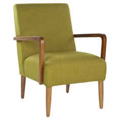 Retro-inspired arm chair with green linen-blend upholstery and exposed wood arms and legs.  Product: Chair    Constru...