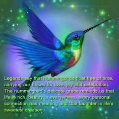 Spirit of Hummingbird ~ The Hummingbird animal totem is a messenger of hope and jubilation.There is something in our souls that wants to hover at beautiful moments in our lives, making them freeze in time. There is something in us that wants to fly backwards and savor once more the beautiful past. Some of us are just hummingbird people.