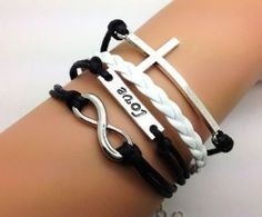 Vintage Style Silver Cross Love  Infinity Wish Bracelet Black Rope and White Leather
