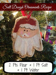 salt dough ornament recipe santa handprint gift tags ornaments, christmas decorations, crafts, seasonal holiday decor, Salt Dough Ornaments Recipe Flour Salt Water