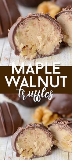 christmas candy Maple Walnut Truffles are an easy candy truffle recipe! These are a Sees Candy Copycat with a maple buttercream center filled with walnuts and a chocolate coating. Theyre the perfect homemade truffles! Homemade Truffles, Homemade Candies, Truffles Recipe, Homemade Candy Recipes, Homemade Chocolates, Homemade Sweets, Homemade Marshmallows, Köstliche Desserts, Delicious Desserts