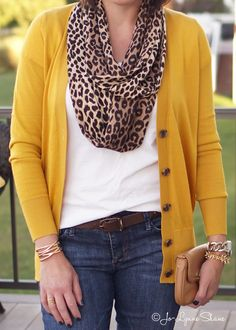 Fashion for Women Over 40: Mustard Cardi + Leopard Scarf