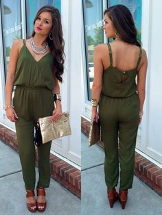Army green jumpsuit #swoonboutique