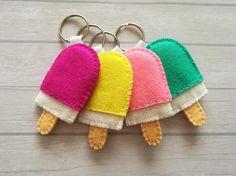 Wool felt Popsicle keychain Ice cream keychain Pink lollipop