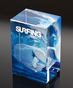 Choose the 3-D Surfing Crystal to recognize someone special!  Featuring a stock design of a 3-D surfer etched inside the crystal cube sorrounded by colorful waves printed on the front and back of the crystal.  Your custom text and logo will be etched on the front of the crystal as pictured and gold or silver filled. Shipping is available to the entire USA! Trophy Design, Custom Awards, 3 Things, 3 D, Bathrooms, Surfing, Waves, Colorful, Logo