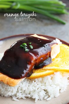 ORANGE TERIYAKI SALMON = 4 salmon fillets t garlic powder t salt for the sauce corn starch cold water cup sugar cup orange juice cup soy sauce cup rice vinegar t sesame oil minced garlic honey -==== Salmon Recipes, Fish Recipes, Seafood Recipes, Cooking Recipes, Dinner Recipes, Fish Dishes, Seafood Dishes, Teriyaki Salmon, Teriyaki Sauce