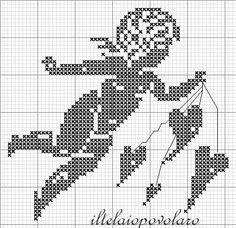"""Vaizdo rezultatas pagal užklausą """"cross stitch black and white scheme"""" Stitch And Angel, Cross Stitch Angels, Cross Stitch Heart, Filet Crochet, Cross Stitch Designs, Cross Stitch Patterns, Cross Stitching, Cross Stitch Embroidery, Cross Stitch Silhouette"""