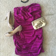 """Express Dress Sexy strapless dress from Express. Comes just above the knee (I'm 5'7"""") and it's a size 12. Has only been worn twice. Beautiful satin fuchsia/wine color. Style it with your favorite accessories, goes great with gold, silver or black. Still love this dress. Just making room in my closet! Express Dresses Strapless"""