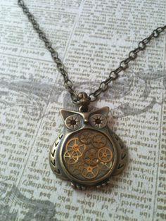 Owl Clockwork Clutter Steampunk Necklace via Etsy.