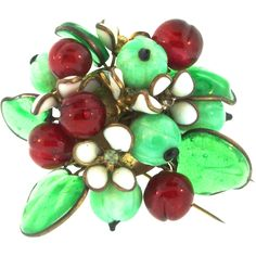 eab73dd14a77 RARE Early Maison GRIPOIX for CHANEL French Depose Poured Glass Leaves  Berries Fur Clip Brooch Pin