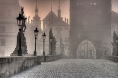 Prague, Czech Republic.  Ghostly view of the Charles Bridge.