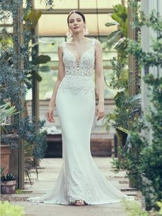 Maggie Sottero - KELSEY, You'll look smart and sexy by matching your hemline to your lace bodice. This crepe sheath wedding dress is made to surprise and harmonize in equal measure. Black Wedding Dresses, Wedding Dresses Plus Size, Princess Wedding Dresses, Wedding Dress Styles, Boho Wedding Dress, Designer Wedding Dresses, Wedding Attire, Mermaid Wedding, 40s Wedding