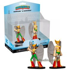Product Features Includes: Hawkgirl and Hawkman Each figure measured approximately 4 inch tall. For age 3 and up Product Description DC Hero World Series 2 Pack 4 Inch Tall Vinyl Figure Collections - Hawkgirl and Hawkman