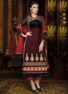 Red And Black Georgette Resham Embroidery Work Churidar Suit#salwar#kameez  http://www.angelnx.com/Salwar-Kameez