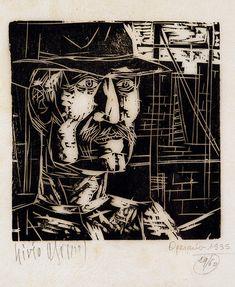 Abramo, Lívio  Operário , 1935  xilogravura  19 x 19 cm  Coleção de Artes Visuais do Instituto de Estudos Brasileiros - USP (São Paulo, SP)  Reprodução fotográfica Fábio Praça