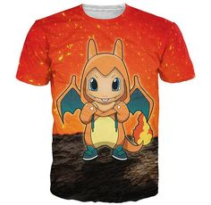 summer tee sleeve t tee Shirt T femme Women 2016 Men Charmander top shirt Pokemon Crewneck camiseta shirt short cartoon birdy TPZ6ZqB