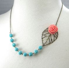 Aqua and Coral Wedding Flower and Leaf Necklace by cymbaline84, $17.50
