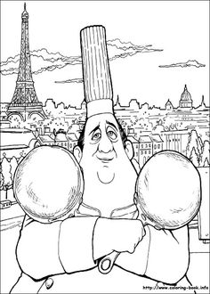 Auguste Gusteau With Two Pans And A Beautiful Parisian View On The Eiffel Tower Behind Coloring Page From Ratatouille Category Select 27115 Printable