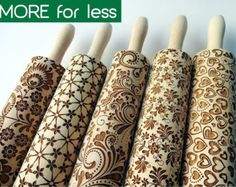 5 ANY pattern Rolling Pin SET.  Lazer engraved embossing rolling pins for homemade cookies. Choose your patterns!