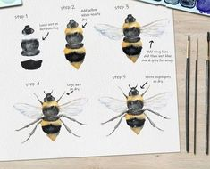 Bee Watercolor Step by Step Tutorial . Free tutorial with pictures on how to paint a piece of watercolor art in under 45 minutes by creating with watercolor paper, watercolor, and watercolour brush. Inspired by bees. How To posted by Ladybug Watercolou. Bee Painting, Watercolor Painting Techniques, Watercolor Projects, Watercolour Tutorials, Painting & Drawing, Watercolor Animals, Watercolor Paintings, Watercolors, Watercolor Flowers