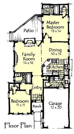 Craftsman Style House Plan - 2 Beds 2 Baths 1198 Sq/Ft Plan #921-12 - Houseplans.com Cottage Floor Plans, Cottage Plan, House Floor Plans, Cottage Homes, Country Style House Plans, Craftsman Style House Plans, Small House Plans, Small House Design, Cabin Plans