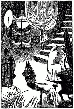 Moomintroll wakes too early from the big winter sleep.