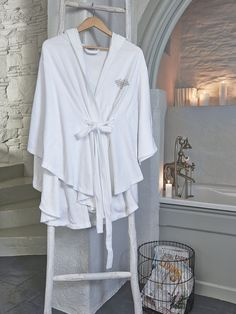 Nordic Poncho Robe - Ladies Inspired by the robes of the world's premier spas, this ultra-soft robe is simply a must-have. #nordic #decor #home #scandi #interior #spa #poncho #robe #white #cotton #bamboo