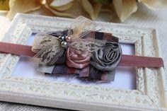 Baby Headband - Newborn Prop - Satin Rolled Flower Headband - Photo Prop  $14.50