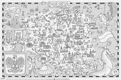 Poland Map, Polish Language, Maps For Kids, English Fun, Educational Activities, My Passion, Free Printables, Coloring Pages, School