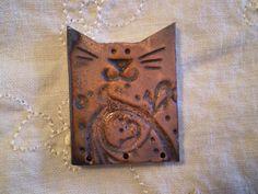 Raku Bead Cat Bead Handmade Ceramic Jewelry by spinningstarstudio, $6.00