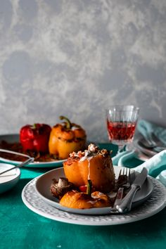 Mushroom Rice Stuffed Peppers with Tahini-Yogurt Sauce