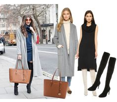 Long Grey Coat + Sweater Dress + OTK Boots | Click through to shop the look on Keatonrow.com