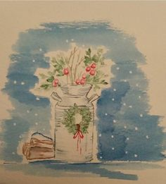 art impressions stamps - winter scene - milk can