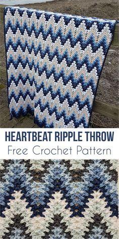 Heartbeat Ripple Throw [Free Crochet Pattern] #crochetafghans #crochetthrow #crochetblanket #freecrochetpatterns #zigzagstitch #stitch