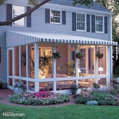 Simple covered screened porch