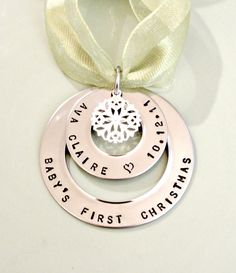 Babys First Christmas - Personalized Hand Stamped Christmas Ornament - Anniversary Our First Christmas - Custom Christmas Gift. $32.00, via Etsy.