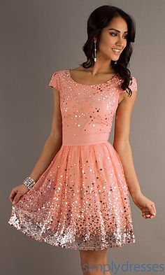 Super cute!!! Short Scoop Neck Party Dress with Cap Sleeves at SimplyDresses.com Orange Yellow, Long Formal Gowns