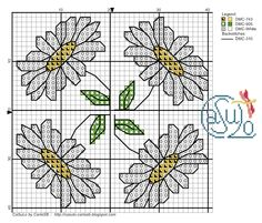 Cross-stitch Daisies Biscornu  ... no color chart available, just use the pattern chart as your color guide.. or choose your own colors...   CaSuLo by CarlaSB: Gráfico