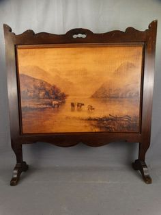 ARTS & CRAFTS Antique RIVER VALLEY & COWS Pyrography PAINTING Wood FIRE SCREEN